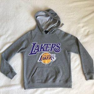 NBA LAKERS Grey Purple Basketball Sweater Hoodie